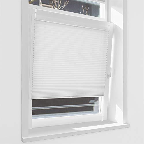 HOMEDEMO Plissee Klemmfix ohne Bohren Jalousien (Weiß, 80x130cm) Plisseerollo Fensterrollo mit Klemmträger, Faltrollo Klemmrollo Sicht-und Sonnenschutz Rollos für Fenster & Tür
