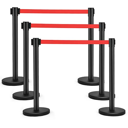 Goplus 6Pcs Stanchion Post Crowd Control Barrier with 6.5' Retractable Belt, Stainless Steel Stanchion Posts Queue Pole, 35' Height, Easy Connect Assembly (Red)
