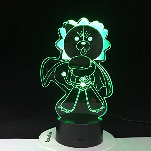 Cartoon 3D LED Angry Bear Lamp7 Color Changings USB Nightlight BedsideOptical Touch Remote Light Child's Favorite