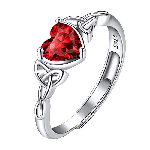 January Birthstone Ring Heart, Adjustable Solitaire Ring, 925 Sterling Silver Celtic Trinity Knot Garnet Birthstone Promise Engagement Rings for Women Teen Girls