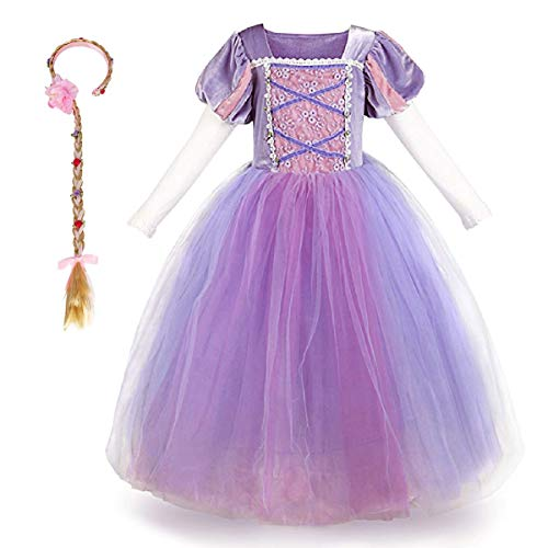 Mädchen Cosplay Kleid Rapunzel Prinzessin Kostüm Kinder Grimms Karneval Tangled Partykleid Halloween Festival Fotoshooting Magie Faschingskostüm Festkleid Fancy Dress Up Lila+Haarband (2PCS) 4-5 Jahre