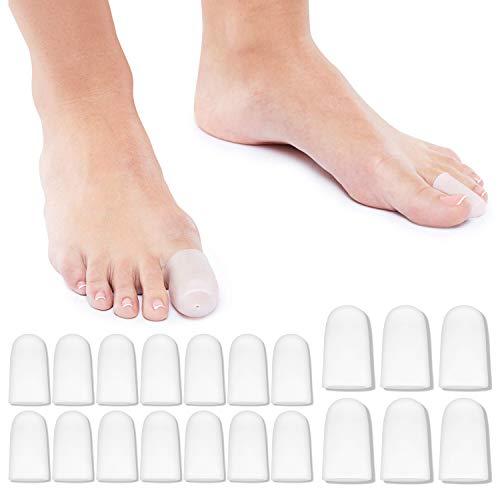 DUOUPA 20 Stück Premium Zehenkappen Zehenschoner Zehenschutz gegen Blasenbildung und Schwielen | Zehenpolster Zehenpflaster Zehentrenner