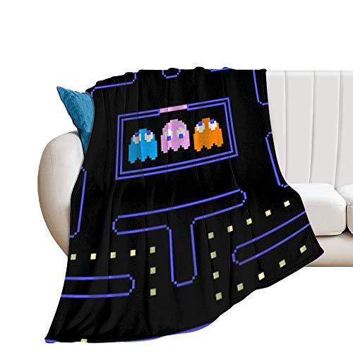 Custom made Video Ganme PacMan Manta suave y transpirable, manta para cochecito de bebé y cuna, manta perfecta para cama doble, universal, 150 x 130 cm