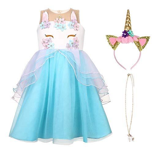 URAQT Einhorn Kostüm und Accessoires Handschuhe Kranz Zauberstab Geflecht Kleid Langes Kostüm für Mädchen,Blau,110 cm(3-4 Ans)