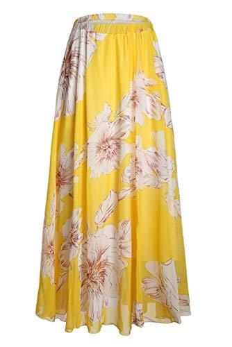 Pretchic Women's Blossom Floral Chiffon Maxi Long Skirt Yellow Small