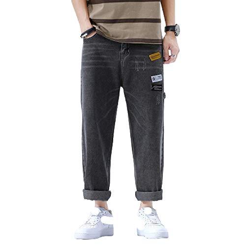 Pantalones Vaqueros para Hombre Pantalones Vaqueros Anchos de Pierna Recta Sueltos Informales de Moda Pantalones de Mezclilla Todo fósforo Informal Streetwear 34
