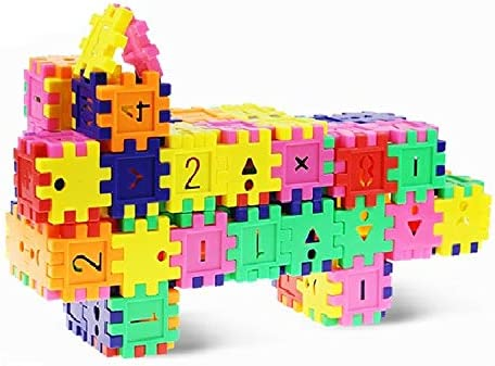 Construction Play Board Building Blocks Kids Building Blocks Set DEJUN Interlock Blocks Toys 78 PCS Recreational Educational Conventional Toys Gift for Boys Girls
