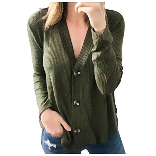 Amcool Damen Pullover, Strickpullover V-Ausschnitt Langarm Einfarbig Oberteile Hemd Sweatshirt Hemd Tops Loose Pulli Bluse Tunika Shirt