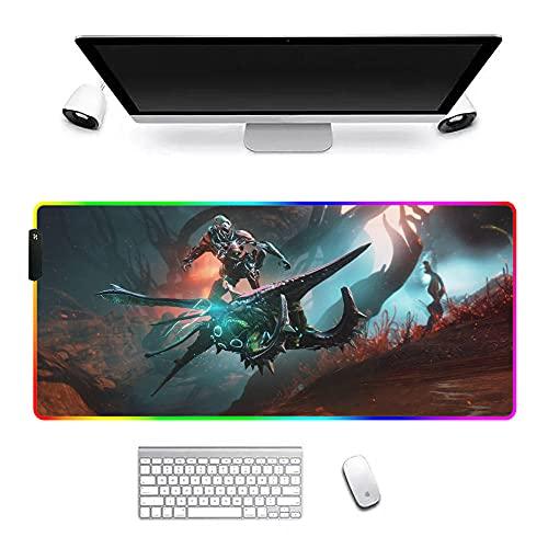 Warframe Large Gamer Alfombrillas de ratón Anime RGB Mousepad LED Pad Accesorios Juegos Alfombra Alfombra Escritorio con Retroiluminación 27.6X11.8X0.16 Pulgadas