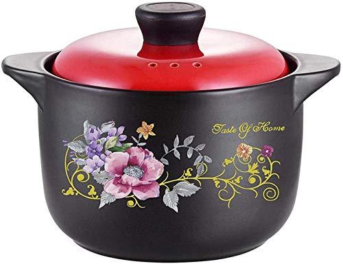 LIUSHI Mijoteuse Casserole Sauteuse Avec Couvercle En Cramique con Tapa Redonda 2800 ml para 2-3 Personas
