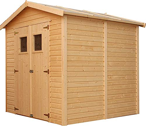 TIMBELA Wooden Garden Shed - Outdoor Storage with Windows – W8ft x L7ft x H7ft Timber Shiplap Shed - Garden Workshop - Bike, Tool Shed Storage M351