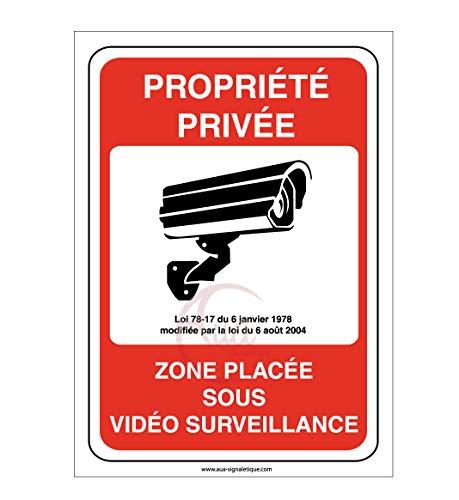 AUA SIGNALETIQUE - Panneau propriété privée Zone placée sous vidéo Surveillance 24H /24-150x210 mm, Aluminium Dibond 3mm