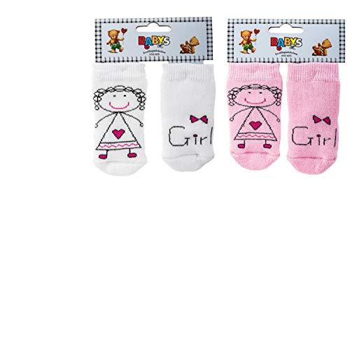 Wowarat Wowarat Baby Mädchen Jungen Erstlings Söckchen Strümpfe Sneaker Socken für 0-5 Monate Girl 2 Paar Weiß & Rosa Vollfrottee