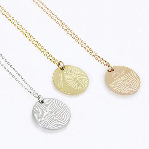 Actual Fingerprint Necklace Woman Engraved Fingerprint Jewelry Bereavement Jewelry Stainless Steel Round Pendant Memorial Gift Mom Gift Personalized Gift