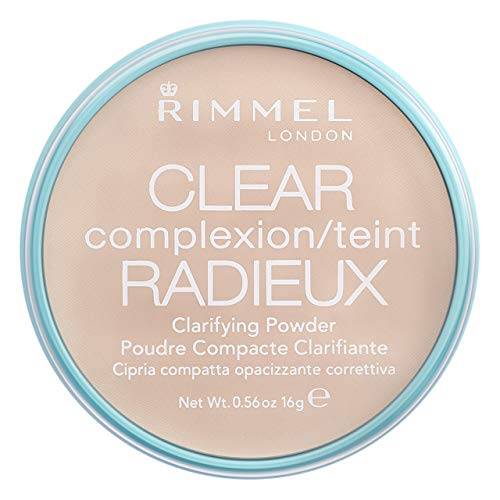 Rimmel London Clear Complexion Clarifying Pressed Face Powder, Instant Retouch and Camouflage for Every Skin Type, Transparent, 16 g
