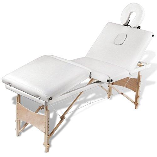 Anself Massageliege 4 Zonen Massagetisch Massagebank mit Holzrahmen Faltbar Creme-Weiß