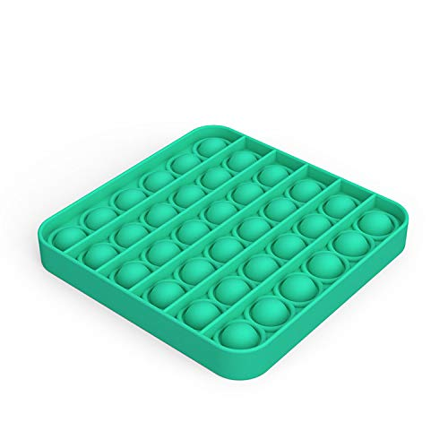 Push Pop Bubble Fidget Sensory Toy, Premium Silicone Anxiety Stress Reliever Toys for Kids Adults BPA Free Durable (Green, Square)