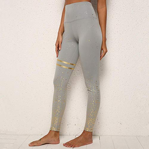 HPPLZwarte yogabroek Sneldrogende legging Dames Running Sport Hoge taille Panty Leggins Dames Gym Fitness Training Push-up legging, Grijs goud, L