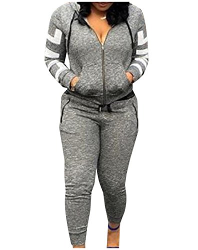 ANDYOU Women's Full-Zip 2 Pieces Tracksuit Simple Tracksuit Set Grey XS