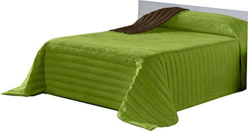 Lucena Cantos - Colcha Todo Uso Bicolor, Fibra 120 gr, (Verde/Choco, 180 x 270)