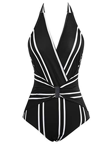 Bañador a Rayas de Mujer Bikini Ropa de Baño de Una Pieza Negro Cuello en V L CL010979-1