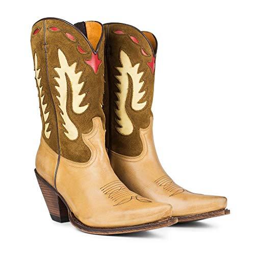 Sendra Boots Bota Cowboy 15351 Gorca Cuero Y Serraje Fantasía en Tonos Marrones