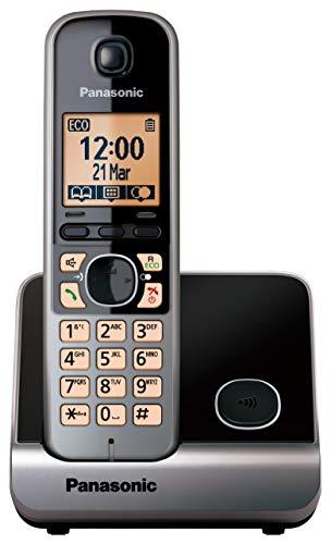 Panasonic KX-TG6751 - Teléfono fijo inalámbrico (Repetidor, teclado y LCD Iluminado, identificador de llamadas 100 números, bloqueo de llamadas, modo ECO, manos libres), color gris