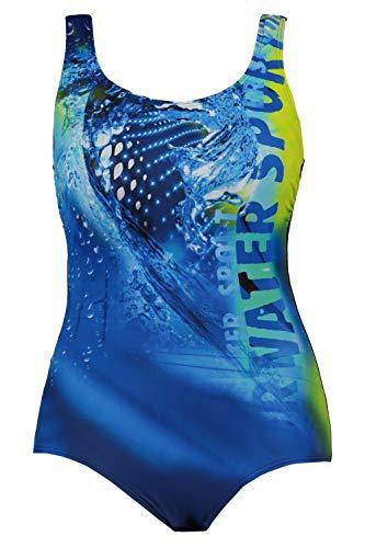 Ulla Popken Damen Größen, Wassersport RT Badeanzug, blau, 46