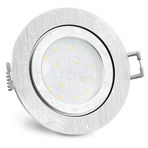 SSC-LUXon RW-2 flacher LED Einbaustrahler IP44 Alu gebürstet für Bad & Außen - mit 5W LED Modul warmweiß 230V Einbauspot rund