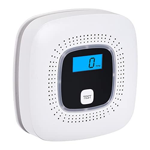 Scondaor CO Melder mit Digitalanzeige, Kohlenmonoxid Warnmelder mit Prüftaste und LED-Statusleuchte, Batterie austauschbar, EN 50291 Zertifiziert