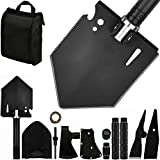 IUNIO Survival Off-Roading Tool Kit, Folding Shovel, Camping Axe, Multitool, Pickaxe, with Carrying Bag, for Outdoor, Car Emergency (Basic Black)