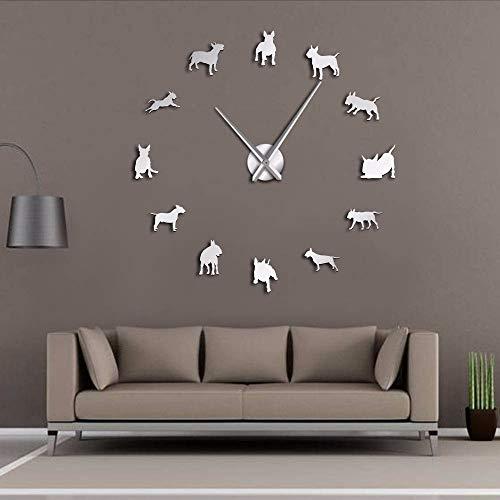 Dwthh Bullterrier Hund Wand Kunst DIY Große Wanduhr Hunderasse Mops Große Nadel Uhr Uhr Pet Shop Decor Geschenk Für Bull Terrier Liebhaber Silber 37 Inch