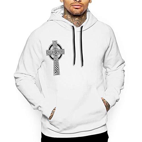Irish Celtic Cross Mens Hoodie Sweatshirt Full Printing Hoodie Biker Jacket White