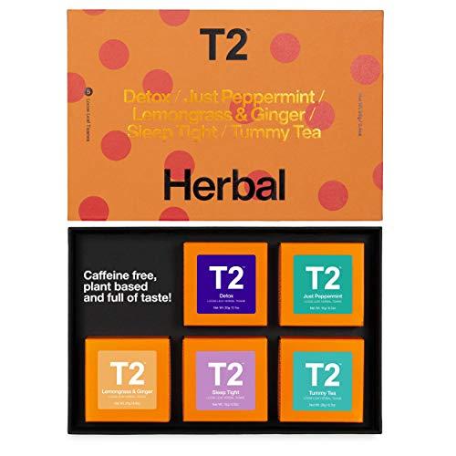 T2 Tea Five Herbal- 5 Mini Gift Cubes of Classic Loose Leaf Herbal Tea in Gift Pack