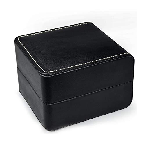 Wesbe Caja de joyería portátil, caja de almacenamiento para relojes, mini anillos, pendientes, collar, caja de piel sintética, caja de exhibición para hombres y mujeres, paquete de 1