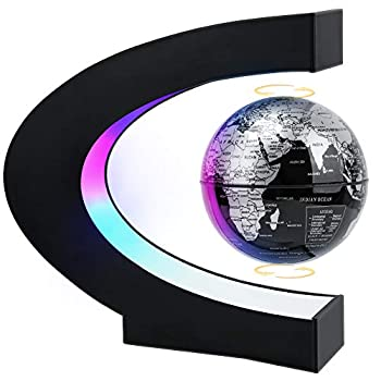 MOKOQI Magnetic Levitating Globe with LED Light Cool Tech Gift for Men Father Boys Birthday Gifts for Kids Floating Globes World Desk Gadget Decor in Office Home /Display Frame Stand