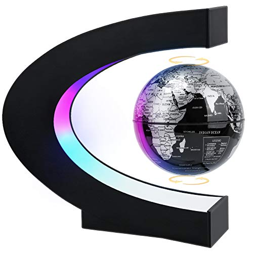 MOKOQI Magnetic Levitating Globe with LED Light, Cool Tech Gift for Men Father Boys, Birthday Gifts for Kids, Floating Globes World Desk Gadget Decor in Office Home /Display Frame Stand