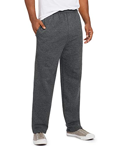 Hanes Men s EcoSmart Open Leg Pant with Pockets, Charcoal Heather, SMALL