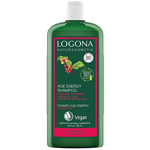 Champú natural Age Energy de Logona, de biocafeína, eficaz contra la caída del cabello, fortalece el cabello fino y sin fuerza, proporciona energía y fuerza para el cabello fortalecido, vegano, 250 ml