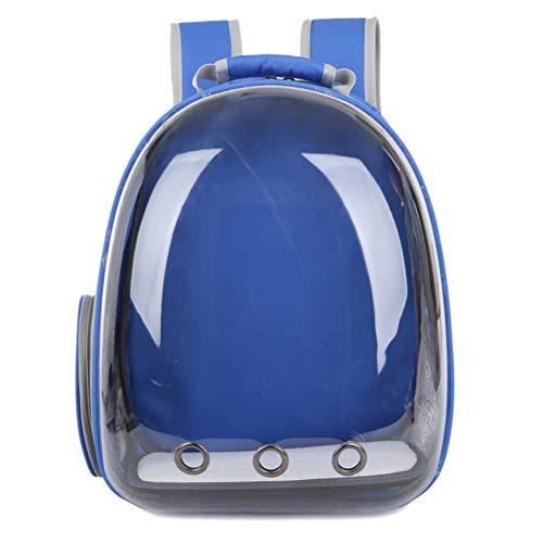 POPETPOP Portable Pet Cat Dog Puppy Space Backpack Carrier Bubble 360 Gradi Spazio Trasparente Sightseeing Capsule Design Zaino (Blu)