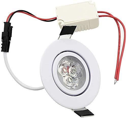 Raelf Down COB Spotlight-Panel Licht Loch Lampen-weißes Licht 110-265 V Runde Einbauleuchten LED-Einbauleuchte 55 mm Schnittlochgröße LED 3W Winkel verstellbare Deckenleuchte Hot White Light 3000 K