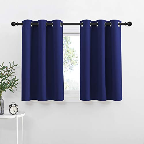 NICETOWN Navy Blue Blackout Kitchen Curtains - Energy Smart Blackout Grommet Curtain Panels for Bathroom, Loft Window (42W by 36L + 1.2 inches Header, Set of 2)