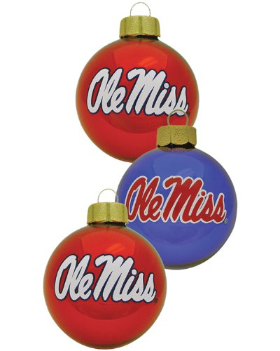 NCAA Mississippi Rebels 3-Piece Glass Ball Ornament Set