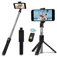 3-in-1 Design --Selfiestick mit abnehmbaren Auslöser. Sie können den Stick entweder als regulären Selfie Stick verwenden, oder den Bluetooth Auslöser abnehmen und als Dreibeinstativ mit Fernauslöser verwenden. Entweder ein Kamera-Einbeinstativ oder e...
