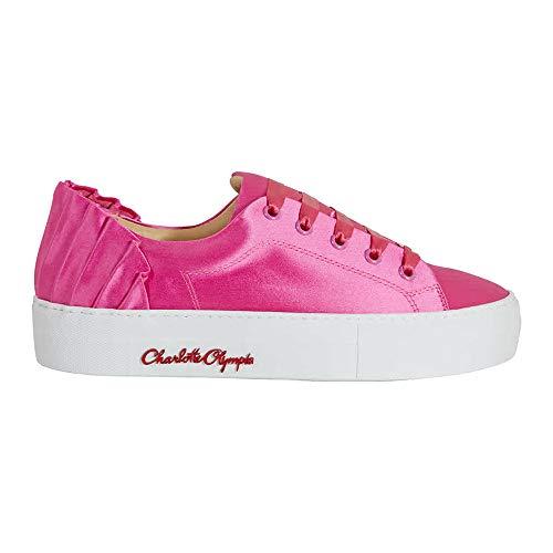 charlotte olympia Ladies Pink Sneaker Satin W Pleat Bk, Brand Size 37 (US Size 7)