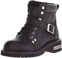 Ad Tec Womens 6 Inch Biker Boots, Heavy Duty, Waterproof, Soft Toe, Lace up Buckle Closer Women's Biker Boots, Black