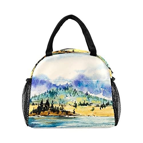 Bolsa de almuerzo de paisaje de montaña de acuarela para mujer con aislamiento personalizado reutilizable caja de almuerzo térmica enfriadora bolsa para el trabajo picnic