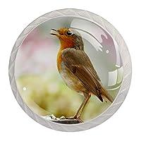 ネジ付きドレッサー引き出し用4個の白いキッチンキャビネットノブ丸い家の装飾-動物の鳥の鳴き鳥の小さなロビン