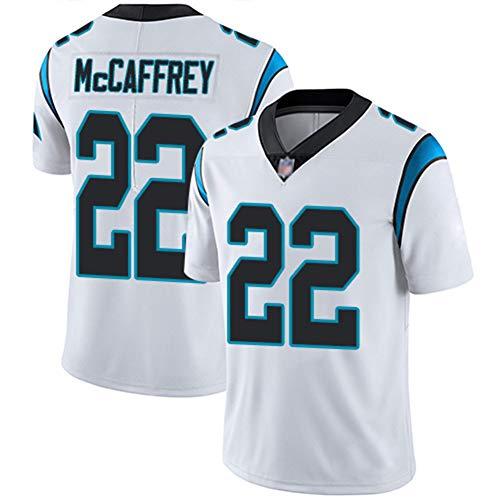 Christian McCaffrey Carolina Panthers # 22 Herren American Football Trikot, Rugby Trikots American Football Trikots Training T-Shirts, Fan Besticktes Shirt Kurzarm Unisex-White-XL(185~190)