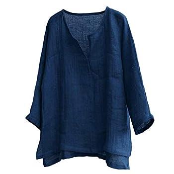 Exteren 2019 Men s Baggy Cotton Linen SOID Color Short Sleeve Retro T Shirts Tops Summer Cool Blouse